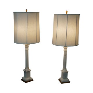 Carrara Marble Corinthian Column Lamps - Pair
