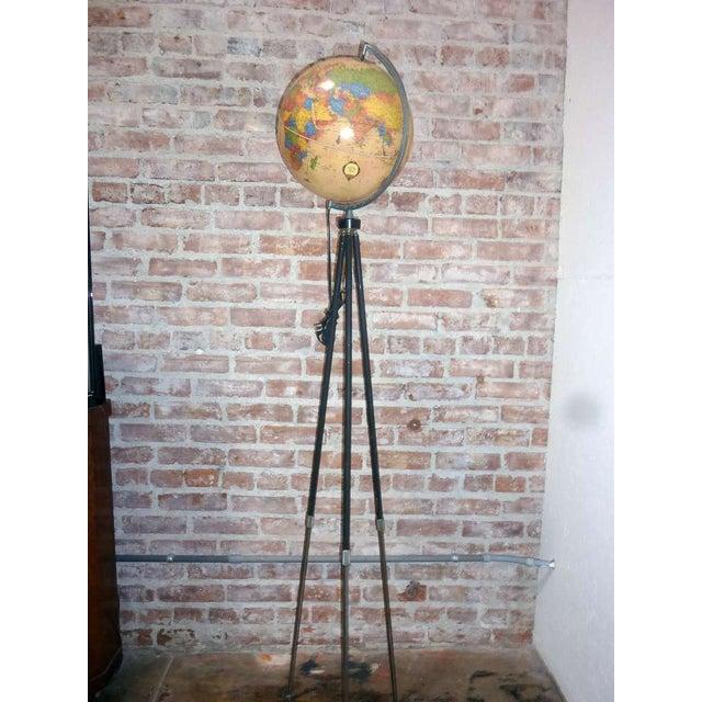 Vintage globe tripod floor lamp chairish for Retro globe floor lamp