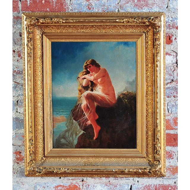 """""""Siren Looking at Sea"""" - 19th Century Oil Painting - Image 2 of 9"""