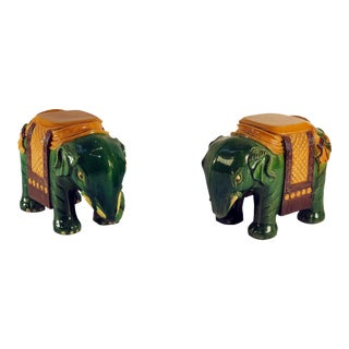 Ching Dynasty Green Glazed Elephant Garden Seats - A Pair