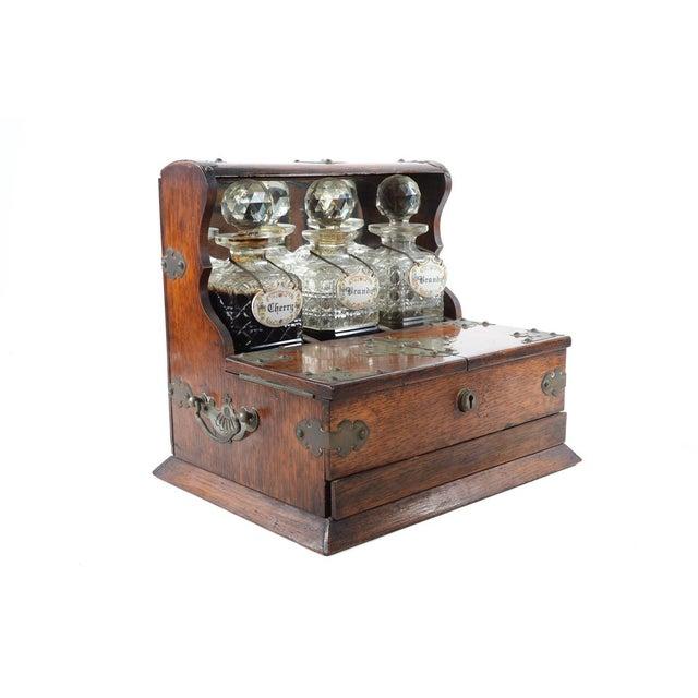 Image of 19th C Antique Captain Oak Tantalus & 3 Decanters