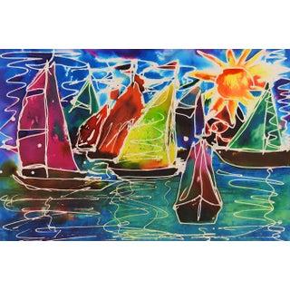 Watercolor of Colorful Sailboats