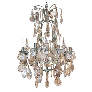 French Bronze & Crystal Chandelier