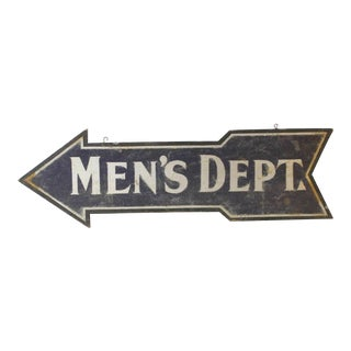 1900s Double-Sided Wood Men's Department Sign