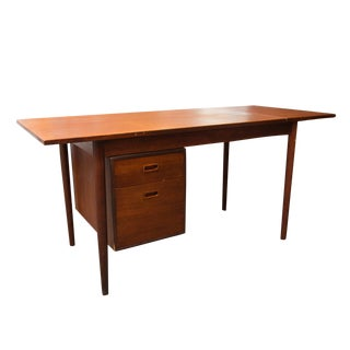 Arne Vodder Style Single Pedestal Drop-Leaf Teak Desk
