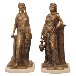 Bronze Statues of Young Maidens - A Pair
