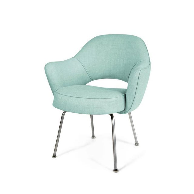 Saarinen Executive Armchairs in Powder Blue Woven-Microfiber, Set of Six - Image 4 of 5