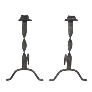 Twisted Column Iron Andirons, 1930s