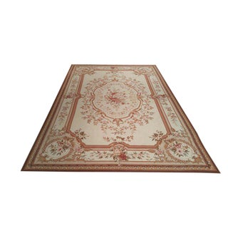 French Needlepoint Handmade Knotted Rug - 5′11″ × 9′