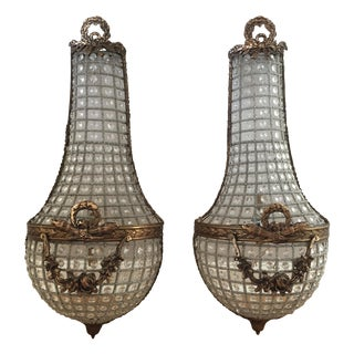 French Basket Style Crystal Wall Sconces - a Pair