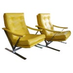 Image of Yellow Naugahyde Armchairs - A Pair