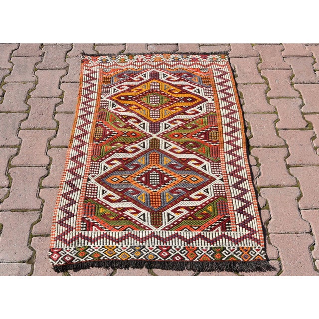 Anatolian Tribal Embroidered Kilim Area Rug -2′6″ × 3′10″ - Image 2 of 6