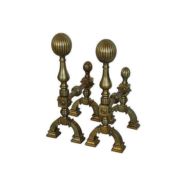 Image of Antique English Brass Andirons - A Pair