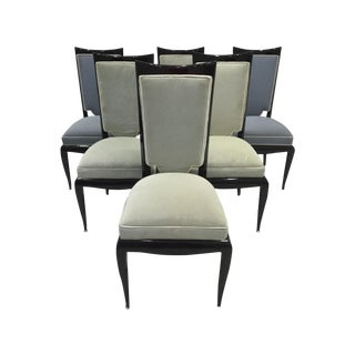 French Art Deco Hardwood Dining Chairs - Set of 6
