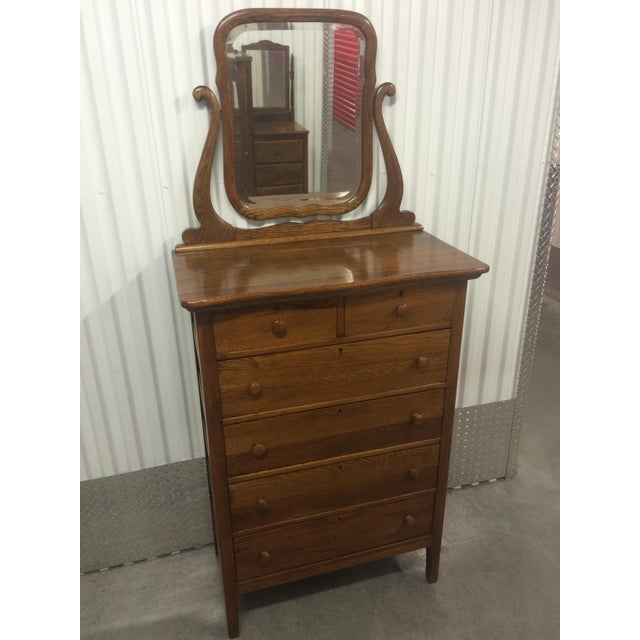 Solid Oak Antique Tallboy Dresser with Mirror - Image 8 of 8