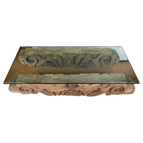 Tibetan Hand-Carved Architectural Element Table - Image 1 of 4