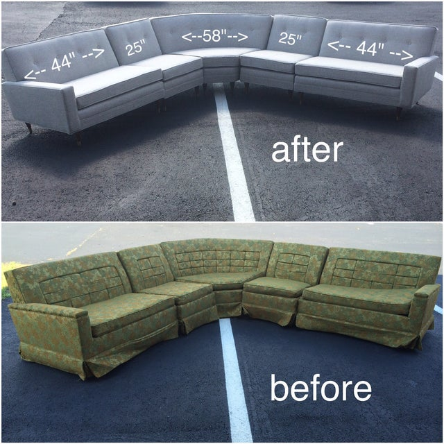 Vintage Mid-Century Sectional Sofa - Image 3 of 9