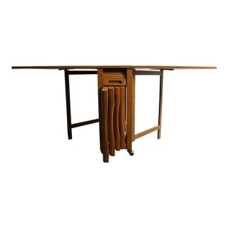 Mid-Century Drop Leaf Hideaway Table With 4 Chairs