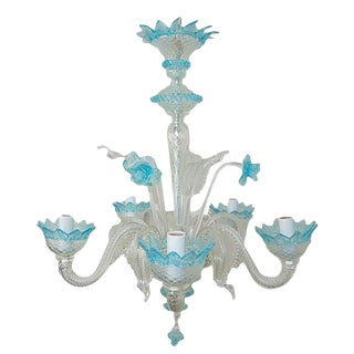 Chandelier of Murano Glass in Clear/Blue