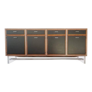 Lucite, Leather and Chrome Credenza