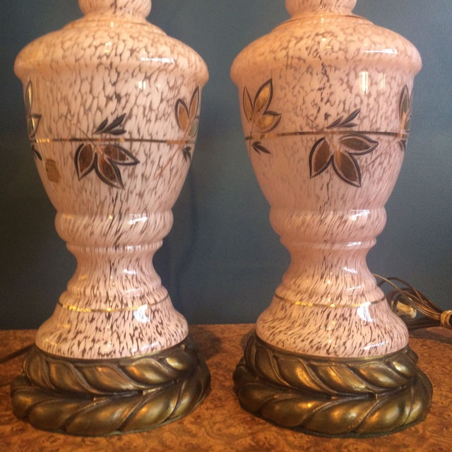 Mid-Century Pink Glass Lamps - a Pair - Image 3 of 8