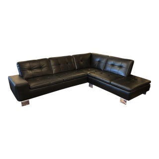 Francesca Black Leather Sectional
