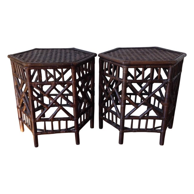 Rattan Chinese Chippendale Fretwork Tables - Pair - Image 1 of 8