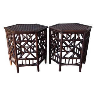 Rattan Chinese Chippendale Fretwork Tables - Pair
