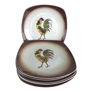 Orchard Ware Rooster Plates - Set of 6