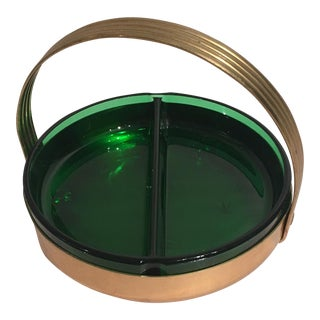 Emerald Green Glass & Brass Ashtray