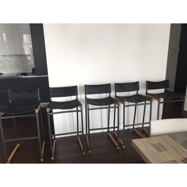 Token Black Leather Bar Stools - Set of 5 - Image 3 of 10