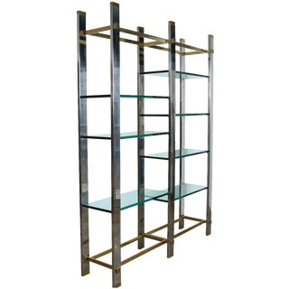 Mid-Century Italian Chrome and Brass Etagere