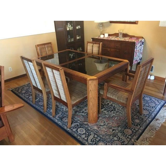 Vintage Oak Glass Top Dining Suite - Image 2 of 11