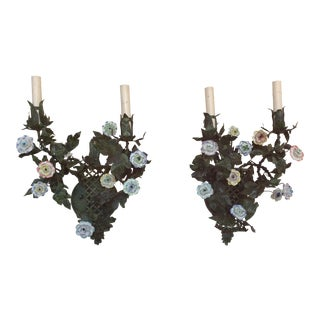 Italian Tole & Porcelain Flower Wall Sconces - a Pair
