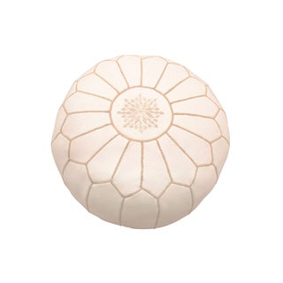 Off-White Moroccan Leather Pouf