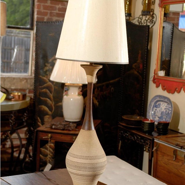 Mid-Century Ceramic and Walnut Lamps- A Pair - Image 3 of 4