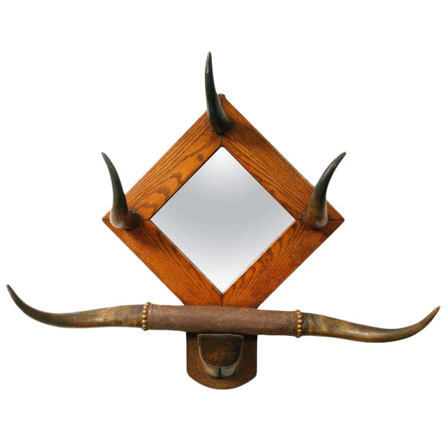 American Horn Hat Rack with Mirror - Image 1 of 6