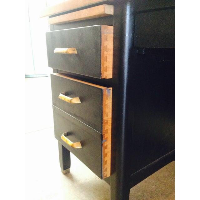 Vintage Professor's Desk, Refinished in Black - Image 6 of 10