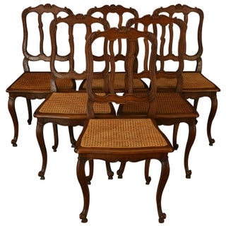 Vintage Louis XV-Style Cane Chairs - Set of 6