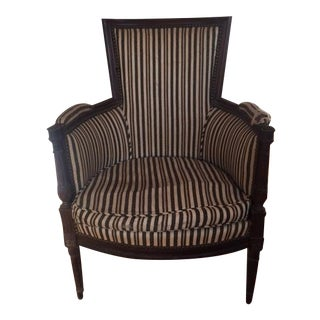 Antique Early 20th Century Chair With Striped Black and White Uphpolstery