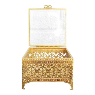 Vintage Gold Ormolu Jewelry Casket Ring Box