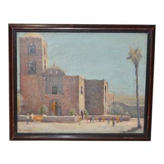 Mission San Javier, Baja California Original Oil Painting by Al Ahronian Circa 1940s