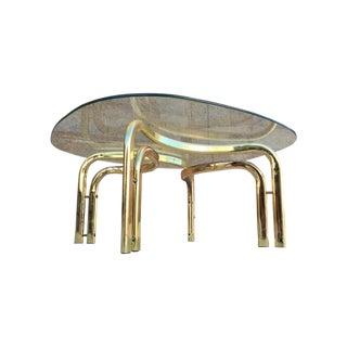 Hollywood Regency Brass & Glass Coffee Table