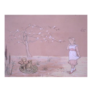 Charming Kate Greenaway Drawing of a Girl Encountering a Frog Prince