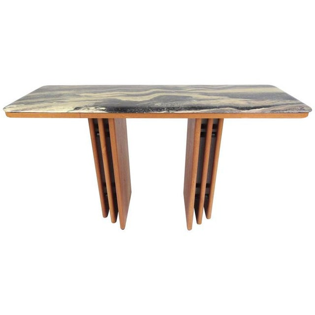 Mid-Century Teak and Marble Console Table by Bendixen Design - Image 11 of 11