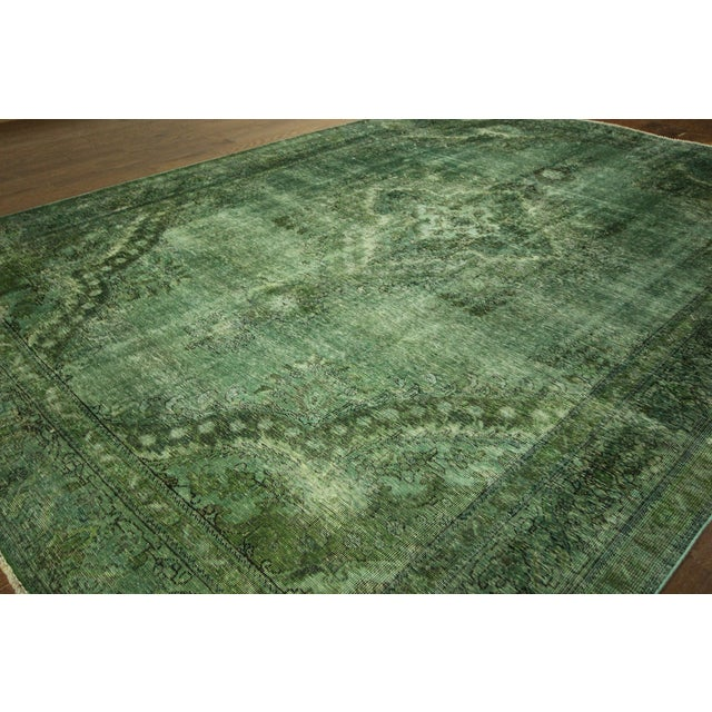 Overdyed Floral Hand Knotted Wool Rug - 9' x 12' - Image 4 of 10