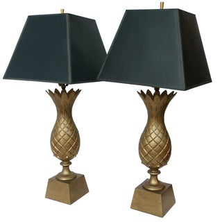 1960s Brass Pineapple Lamps - Pair