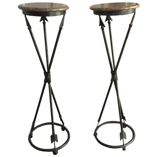 Neoclassical Arrow Motif Pedestals - A Pair