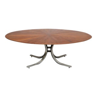 Vintage Osvaldo Borsani Walnut & Sculpted Steel Dining Table