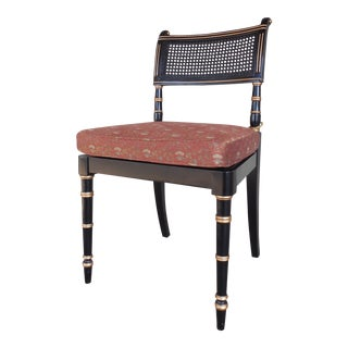 Baker Neoclassical Black Lacquer Accent Chair